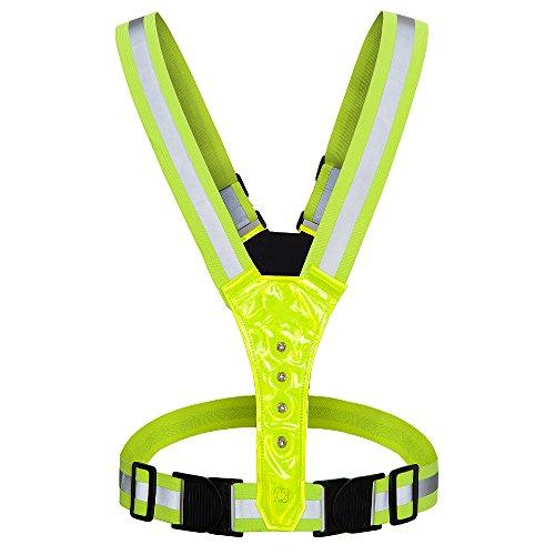 AYKRM Warnweste Fahrrad Reflektorweste Joggen Sicherheitsweste Einstellbar Leicht für Laufen, Motorrad, Running Reflektierende für Erwachsene, Kinder (Gelb LED)