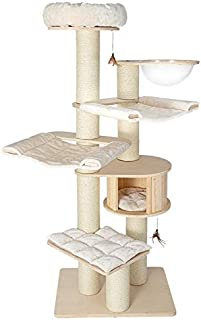 HONEYPOT CAT by CHOKYO Solid Natural Wood Cat Tree Cat Tower Build with Extra Large Condo, Capsule, Sisal Scratching Posts...