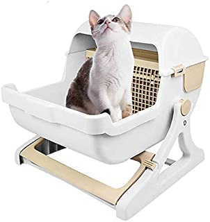 Rubik Pet Cat Toilet Semi Automatic Quick Cleaning Odor Free Cat Litter Box Toilet For Adult Cats - White/Beige
