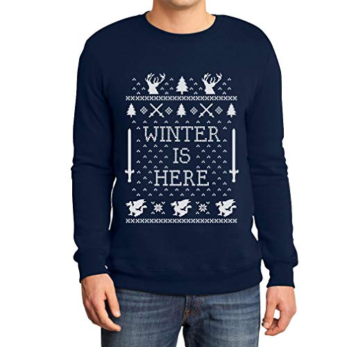 Shirtgeil Winter Is Here Maglione Natale Ugly Christmas Felpa/Maglione Da Uomo Large Navy