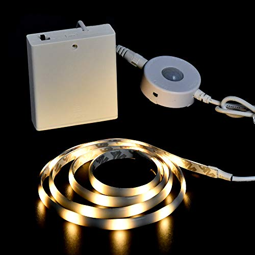 Under Bed Lights DANCRA Motion Sensor LED Strip Battery Powered, Flexible Rope Lighting for Bedroom, Kitchen Cabinet, Wardrobe, Stairs (Warm White)