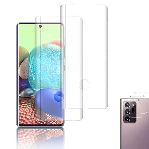 [4 Pack] Galaxy Note 20 Ultra Screen Protector Include 2 Pack Tempered Glass Screen Protector + 2 Pack Tempered Glass Camera Lens Protector[9H Hardness][Anti-Fingerprint] for Galaxy Note 20 Ultra