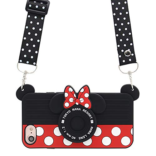MC Fashion iPhone 7 Case, iPhone 8 Case, Cute 3D Minnie Mouse Polka Dots Camera Case for Teens Girls Women, Protective Soft Silicone Case for Apple iPhone 7/8 (4.7-Inch) and iPhone SE 2020