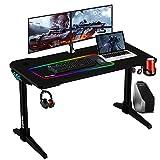 Gaming Tisch mit LED 120cm, ESGAMING Groß Gaming Schreibtisch mit LED for...