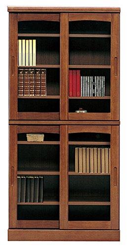 日本製 幅85cm 高さ180cm 引き戸タイプ 書棚 キャビネット 完成品 (ダークブラウン)