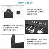 ZERHOK Kochschürze Küchenschürze Grillschürze Latzschürze Verstellbarem Nackenband Schwarz mit Kochmütze Set Für Männer Frau Herren - 5