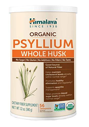 Himalaya Organic Psyllium Husk for Daily Fiber, Weight Management, Cholesterol and Blood Sugar Support, 12 oz, 56 Tablespoon Supply