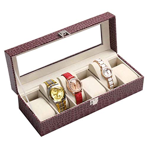 Contenitori di orologi personalizzati portaoggetti in vetro lucido nero con cassa in vetro con 6 orologi, morbidi cuscini regolabili e ampio spazio per orologi di grandi dimensioni Roscloud@