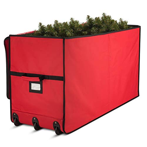 Super Rigid Rolling Christmas Tree Storage Box - Canvas Fabric with Cardboard Inserts - Opens Wide for Easy Input/Access, Artificial Trees Storage Bag, Fits Up To 7.5 ft. Wheels & Handles for Carrying