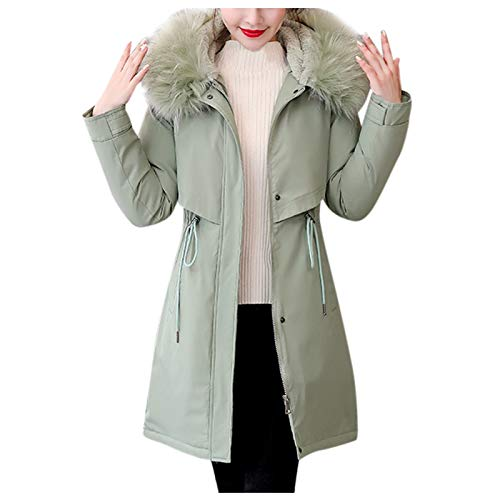 Janly Clearance Sale Abrigo para mujer, ropa de abrigo larga acolchada de algodn, abrigos con capucha, para invierno Navidad (verde menta y XL)