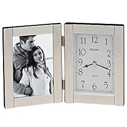 Bulova B1275 Forte II Picture Frame Clock, Brushed Aluminum