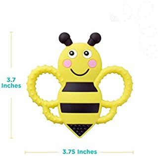 sweetbee Buzzy Bee Multi-Textured, Soft & Soothing, Easy-Hold, Silicone Teether Toy (BPA Free, Freezer & Dishwasher S...