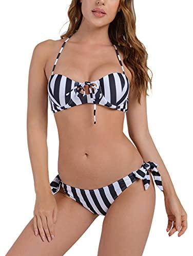 UMIPUBO Bikini Set Costumi da Bagno Push Up Imbottito Costumi da Mare Donna la Striscia Due Pezzi Spiaggia Beachwear Halter Swimwear, Nero + Bianco, S
