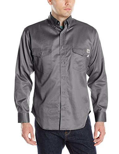 Wolverine Men's Flame Resistant Twill Shirt, Lead, Small