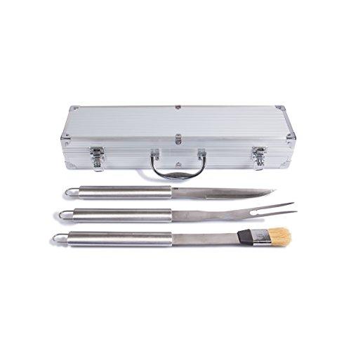 Rustler RS-0555 Grillbesteck Set im Aluminium Koffer, 3-teilig, silber, 45 x 24 x 45 cm