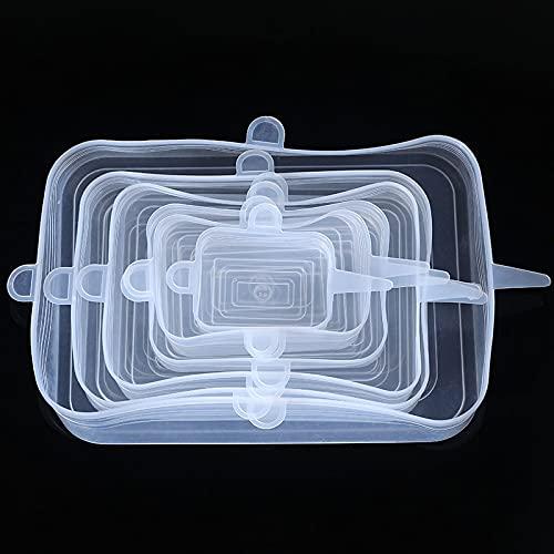 PPuujia Juego de 6 tapas de silicona para alimentos, reutilizables, ecológicas, para accesorios de cocina (color cuadrado), color blanco