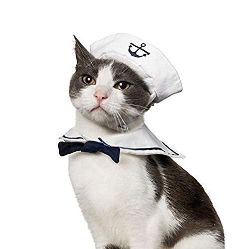 Gorra ajustable de color azul marino y marinero con bufanda para perros y gatos y capa azul marino