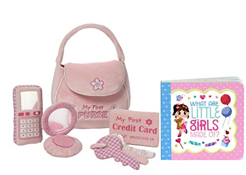 SIX PIECE SET: Includes purse, a compact with a mirror, a crinkling credit card, crinkling keys, a plush cell phone sound toy that rings when you press it, and a greeting card board book GREETING CARD BOOK: Adorable illustrated board book doubles as ...