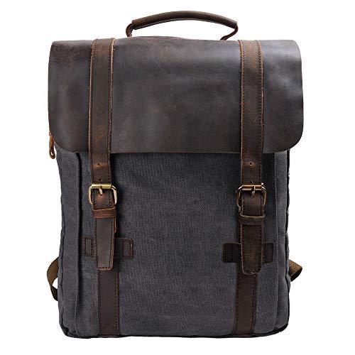 S-ZONE Vintage Canvas Leather Backpack 15.6 Inch Laptop School Bag Travel Rucksack (Dark Gray)