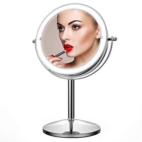 JOMARTO Lighted Makeup Mirror,10X Magnification Makeup Mirror, Makeup Mirror with Light, Double Sided Dimmable with Touch Control 360°Rotation Battery Powered