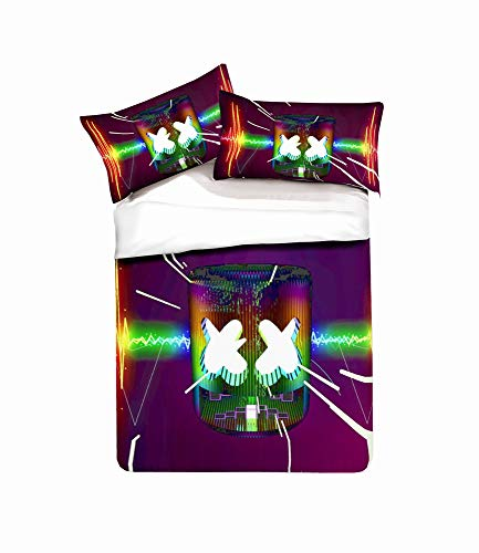 YYDD Duvet Cover Sets DJ 3D Printing 3 Piece Set Bedding 100% Microfiber For Gifts (1 Duvet Cover + 2 Pillowcases) -Clean Beautiful A-Queen(228cm*228cm)