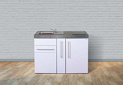 Stengel Steel Concept Miniküche Premiumline MP 120 A – Weiß – Kühlschrank – Apothekerauszug (Teepantry - KS Links - Becken rechts - Schublade)