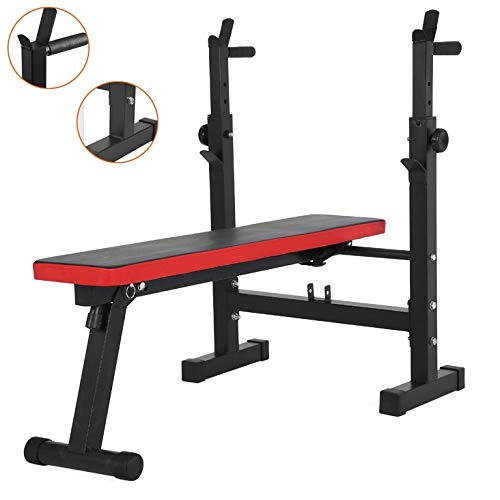 Squat Rack Bench Press Men's Fitness Barbell Rack Multifunctional Shelf Adjustable Bracket Home Indoor Gym Foldable Strength Training Stand Weight Racks (Color : Black, Size : 120 * 58*(80~105) cm)