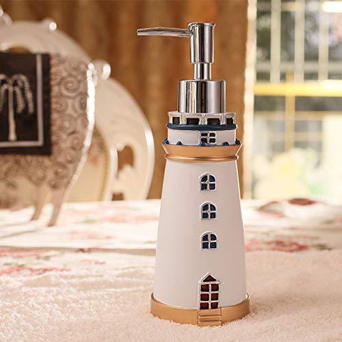 ASDQW Seifenspender,Lotion Leere Flasche/Shampoo-Glas Aus Weißem Harz/Leuchtturm Modelliert Goldbasis/Silberpresspumpendüse/Küche Badezimmer Hotel