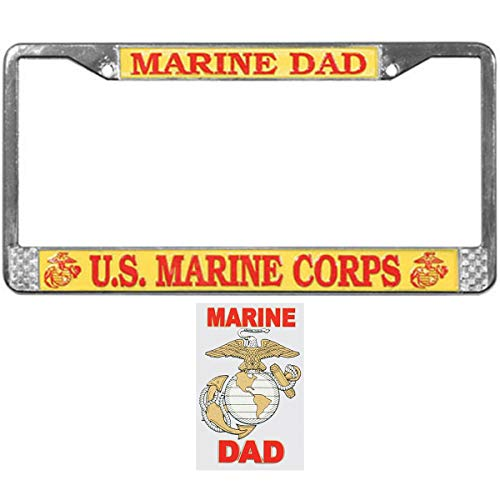 Butler Online Stores Marine Corps Dad License Plate Frame Bundle with Marine Dad Decal(EGA Emblem)
