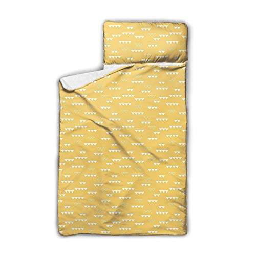 SfeatrutMAT Triangle Pointing Down Pattern with Contrasting Tones Abstract Ornamental Motif,Everyday Nap Mat with Blanket and Pillow,Yellow White,50'x20',Fits Sleeping Toddlers,3-7 Years