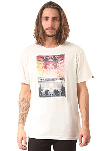 Quiksilver Organic - T-shirt - Col ras du cou - Manches courtes - Homme - Écru (Offwhite) - Small (Taille fabricant: S)