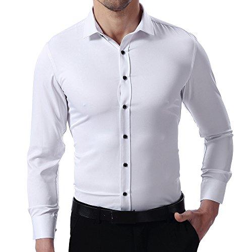 Camisa Bambú Fibra Hombre, Manga Larga, Slim Fit, Camisa Elástica Casual/Formal para Hombre, Blanco, 43 (Cuello 43CM, Pecho 116CM)