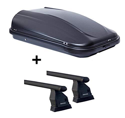 VDP Dachbox JUPRE320 schwarz glänzend abschließbar 320 Ltr + Dachträger Menabo Tema kompatibel mit Citroen Berlingo (Hochdachkombi) ab 2008