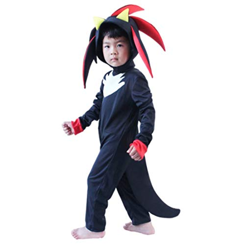 Bulex Kids Shadow The Hedgehog Jumpsuit Rompers with Headpiece Gloves, Overall Cosplay Outfits Costume Props (M)