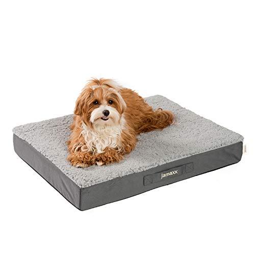 JAMAXX Orthopädische Hunde-Matratze Gelenkschonend Memory Visco Schaum Waschbar Abnehmbarer Lammfell Bezug/Wasserabweisendes Oxford Gewebe - Robustes Kuschliges Hundebett PDB1012, 65x50 (S), Grey