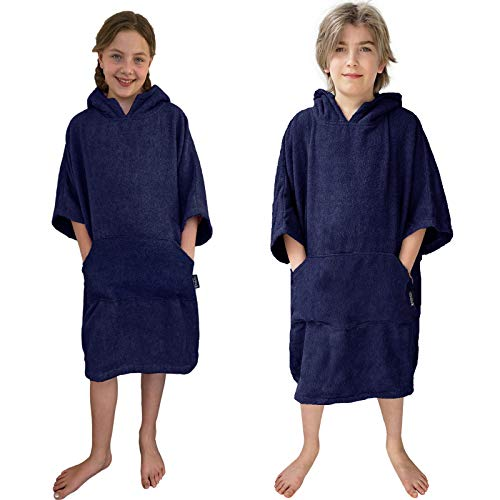 HOMELEVEL Kinder Surfponcho 100% Baumwolle Strandponcho Poncho Badeponcho Strandtuch Handtuch Cape Velours Frottee Badetuch mit Kapuze (Dunkelblau, 10-13 Jahre)