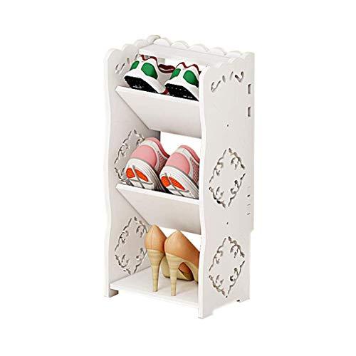 XXCHUIJU Zapato Estante Zapato Bastidor Blanco 3 Niveles Organizador estantes Almacenamiento gabinete de Almacenamiento Espacio Ahorro Hueco Tallado con estantes Plano y ángulo Zapatos Organizador