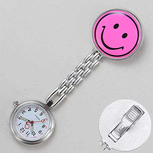 dihui Reloj de Bolsillo con Broche de Solapa,Cartoon Krankenschwester Brustuhr, leuchtende einfache Taschenuhr-Plum Red 1,Reloj Silicona Enfermera