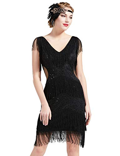 Coucoland - Abito vintage anni '20, con frange, con scollo a V, stile vintage, anni '20, con paillettes, senza maniche, Gatsby Nero S