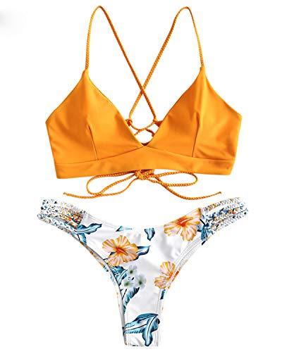 ZAFUL Damen Gepolsterter Bikini Set Bademode Badeanzug mit Blumenmuster Schnürung Zweiteilig GelbSmall