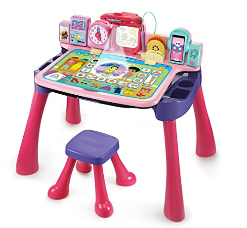 Vtech-5-in-1 Magischer Schreibtisch Pink Escritorio de Juegos, Color Rosa (80-540954)