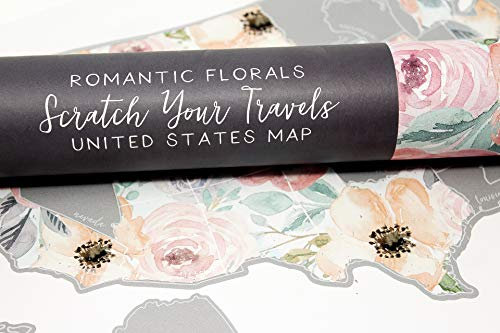 JetsetterMaps Scratch Your Travels Romantic Floral USA Map