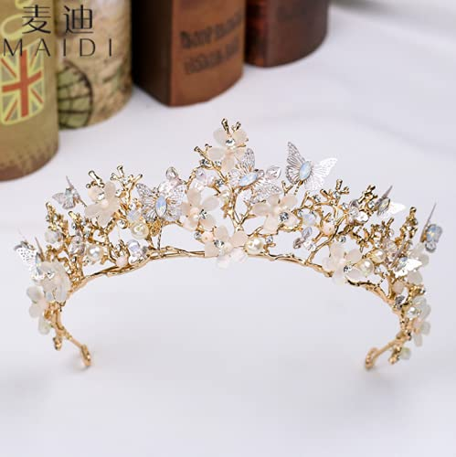 Mariposa cristales perla boda nupcial corona tiara novia pelo accesorio para boda fiesta de cumpleaños