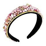 ZITULRY Crystal Pearl Hairband for Women Irregular Rhinestone Embellished Hair Hoop Wide Velvet Padded Headband Accessories (Pink)
