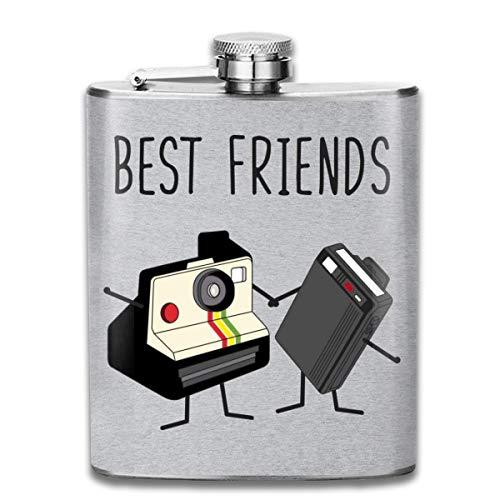 Best Friends Flachmann/Taschenflasche, Vintage-Motiv mit Kamera und Retro-Pieper, Edelstahl, ca. 200 ml