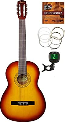 Fender Squier SA-150 Classical Guitar - Sunburst Bundle with Tuner, Foot Rest, Strings, Austin Bazaar Instructional DVD, and Polishing Cloth