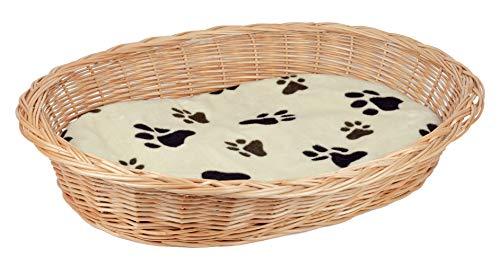 Tigana Weidenkorb mit Zopfrand Hundekorb aus Vollweide in Natur 50 cm (+ Kissen in Beige)