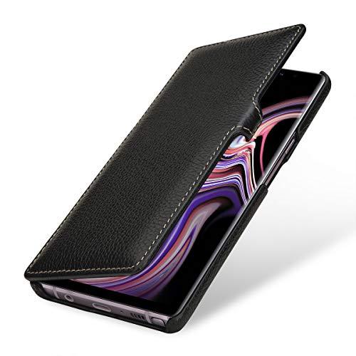 StilGut Book Type Lederhülle für Samsung Galaxy Note 9. Seitlich klappbares Flip-Hülle aus Echtleder, Schwarz mit Clip