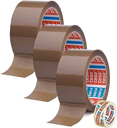 Tesa 3 Rollen Klebeband Braun 64014 - Paketband 50 mm x 66 m - Paketklebeband leise abrollend + Gratis Tesafilm [15mm x 10m]
