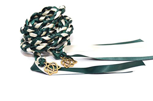 Hunter Green Gold Celtic Heart Knot Wedding Handfasting Cord #Handfasting #Handbinding #DivinityBraid #Celtic #Wedding #CelticKnot